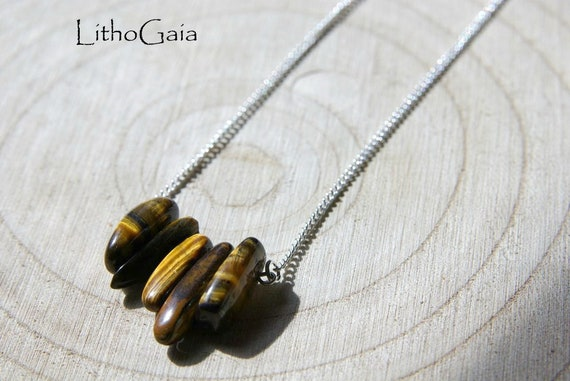 Tiger Eye ∞ Protection, Overcomes blockages, Taurus Birthstone, Chakra Sacral ∞ 925 Sterling, Necklace, Gemstone Bar, Jewelry, Gift for Her