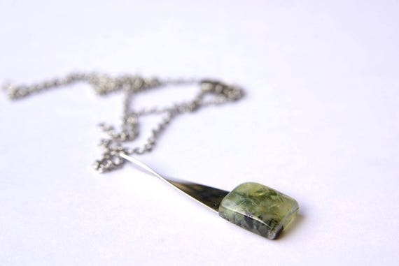Prehnite Jewelry, Gemstone Necklace, Pendant Cabochon, Healing Crystals, Prehnite Gift for Her, birthstone