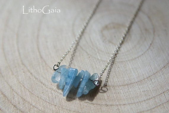 Aquamarine Bar necklace, Silver 925 necklace, Aquamarine Gemstone, birthstone, Aquamarine jewelry, Minimalist, Zodiac Necklace