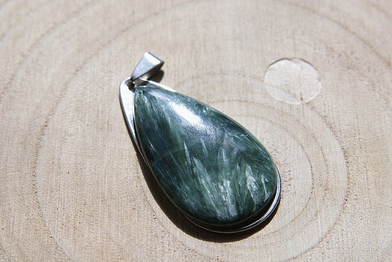 Natural Big Seraphinite Jewelry, Gemstone Necklace, Pendant Cabochon, Seraphinite Gift for Her, birthstone