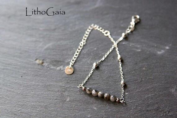 Labradorite Bar Bracelet or Anklet 925 Silver, birthstone Bracelet, Labradorite jewelry Zodiac Gift for Her, Labradorite beads Anklet