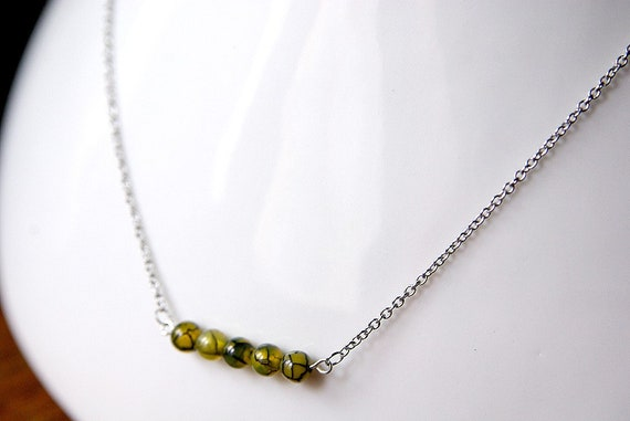 Dragon Vein Agate Necklace on Sterling Silver 925. Nickel Free.