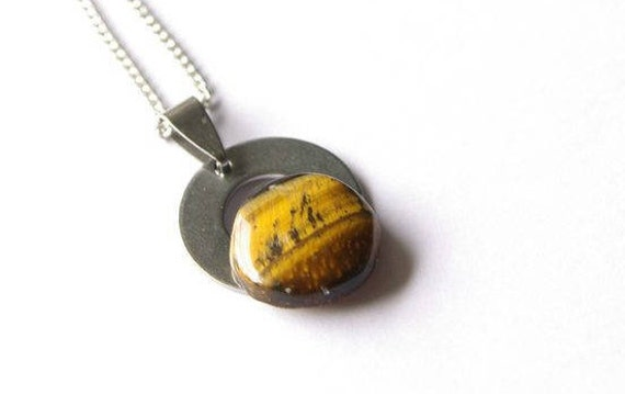 Natural Tiger Eye Jewelry, Gemstone Necklace, Pendant Cabochon, Protection Stone, Healing Crystals, Tiger Eye Gift