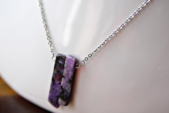Charoite Bar necklace on 925 Silver, Charoite Gemstone, Gift for Her, Gemstone bar, birthstone, Charoite jewelry, Minimalist, Zodiac