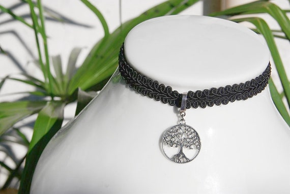 Tree of life Lace choker Necklace Personalized Spiritual Pendant Jewelry Mindfulness Gift For girl Reiki Charm Meditation Yoga Necklace