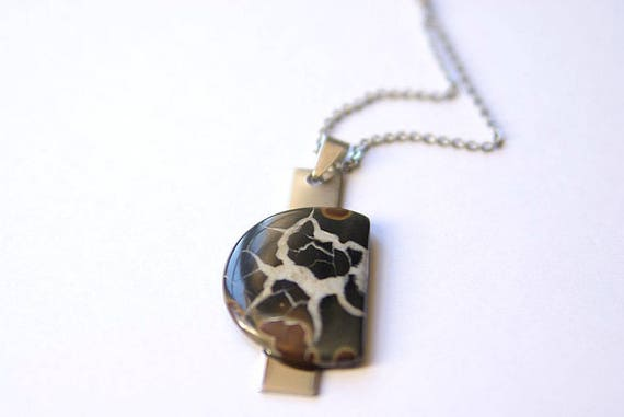 Natural Septarian Jewelry, Gemstone Necklace, Pendant Cabochon, Healing Crystals, Septarain Gift for Her, birthstone