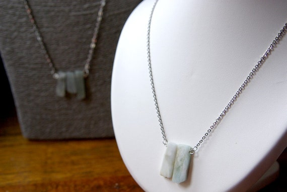 Aquamarine Bar necklace on 925 Silver Chain, birthstone, Aquamarine jewelry, Healing Stone, Protection Stone, Crystal healing, Minimalist