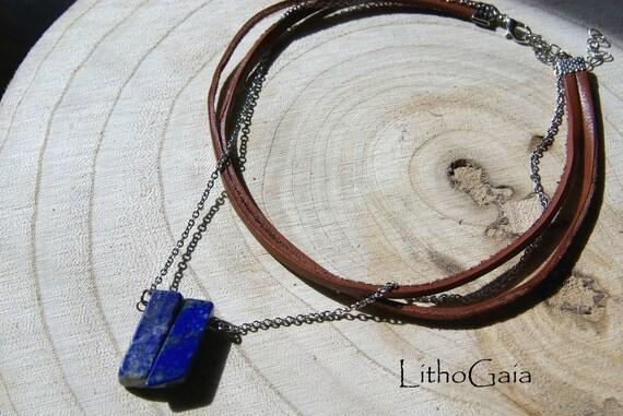 Lapis Lazuli Bar Choker Necklace, 925 silver, Healing Stone, Lapis Lazuli Necklaces, Lapis Lazuli Choker for Her, Bar Necklace, Gemstone bar
