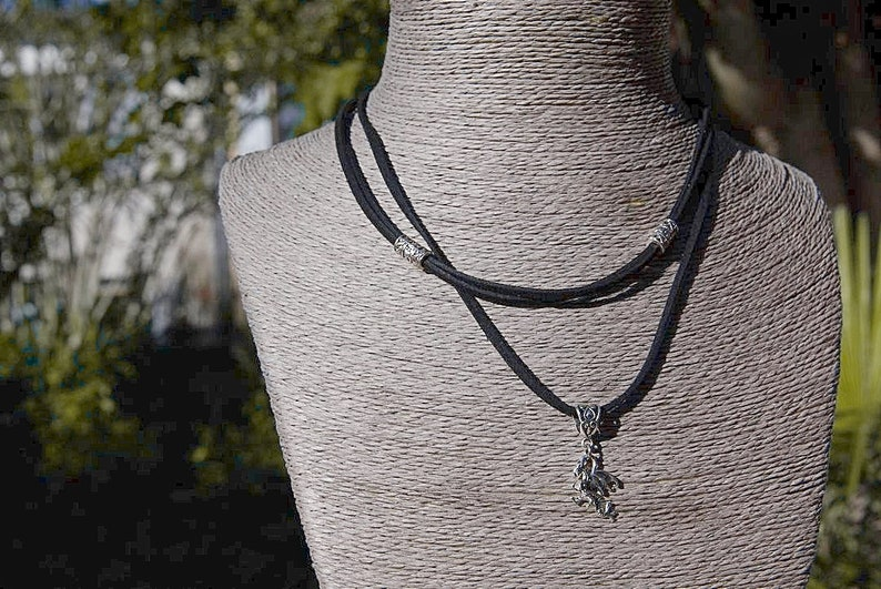 a Fantasy Protection Celtic pendant a Wiccan Pagan Charm a Mystical Animal Totem jewelry Dragon Women Boho Choker Necklace on Vegan Cord