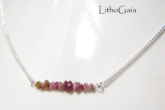 Pink Tourmaline ∞ Attract Love, Compassionate, Aries Birthstone, Heart Chakra ∞ Bar Necklace, 925 Silver Chain, Jewelry, Crystal Necklace