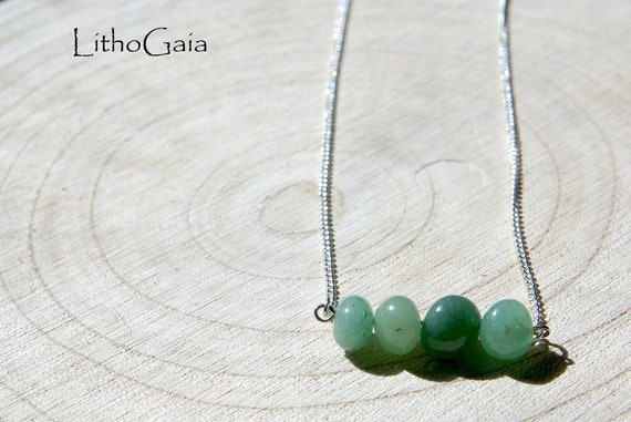 Aventurine Bar Necklace 925 Silver ∞ Prosperity, Protection, Anti pollution, August Birthstone, Heart Chakra ∞ Gemstone Dainty Jewelry Gift