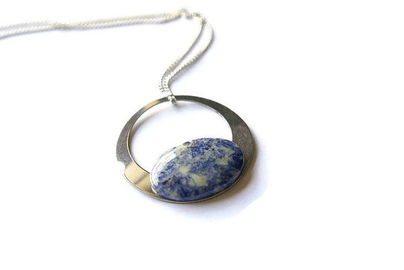 Natural Sodalite Jewelry, Gemstone Necklace, Pendant Cabochon, Healing Crystals, Sodalite Gift for Her, birthstone