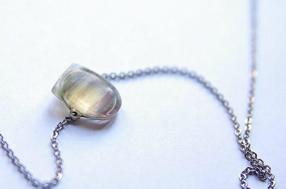 Fluorite Pendant with 925 Sterling silver chain, Fluorite Necklace, Fluorite Gemstone, Fluorite Jewelry, Gemstones