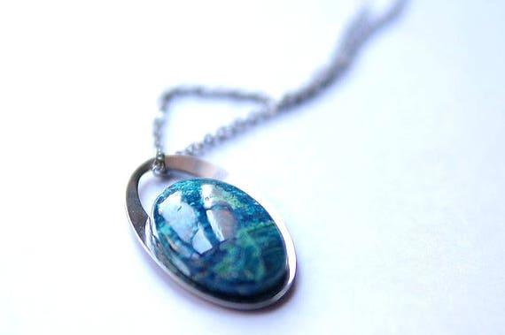 Natural Shattukite Jewelry, Gemstone Necklace, Pendant Cabochon, Shattukite Gift for Her, birthstone