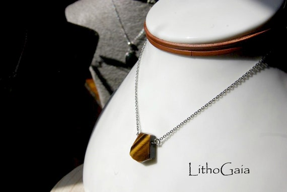 Tiger Eye Necklace, Leather Choker and Stainless Steel Chain, Protection Stone, Crystal Necklaces, Healing Stone, Jewelry Gift for Her