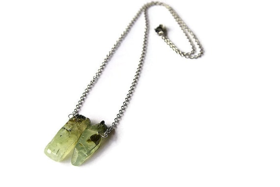 Prehnite Bar Silver Necklace ∞ Unconditional Love, Healing Crystal Meditation, Gemini Birthstone, Heart chakra ∞  stone Jewelry Gift for Her