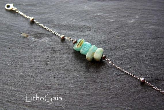 Amazonite Bar Bracelet or Anklet Silver 925, Zodiac Birthstone Gift for Her, Amazonite Minimalist Jewelry, Amazonite Beads Anklet
