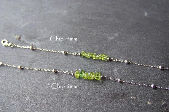 Peridot Bar Bracelet or Anklet 925 Sterling Silver, birthstone Bracelet Peridot jewelry, Bracelet Zodiac Gift for Her, Peridot beaded Anklet