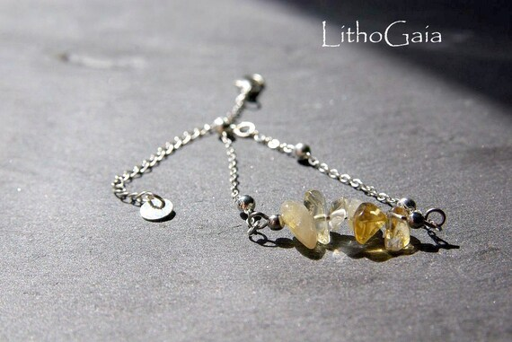Citrine Bar Bracelet or Anklet 925 Silver, Minimalist Citrine jewelry, Prosperity Stone Gift for Her, Birthstone Zodiac, Beaded Anklet