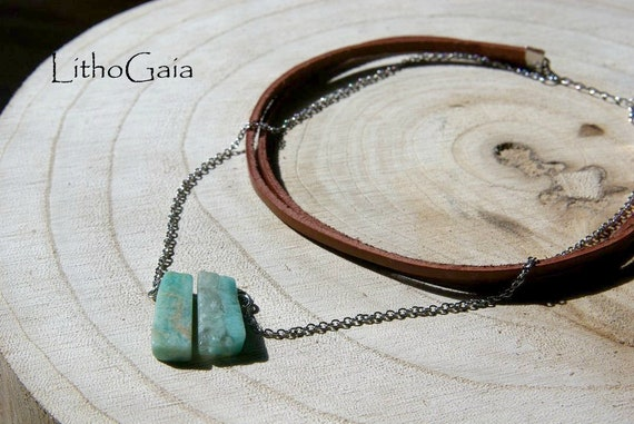 Amazonite Bar Necklace on Chain, Amazonite Gemstone, Crystal Necklaces, Amazonite Jewelry, Amazonite Choker, Gift for Her, Bar Necklace