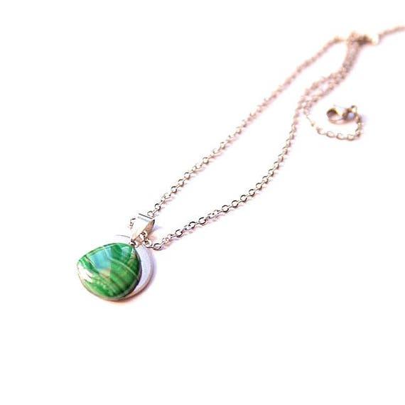 Malachite Pendant Cabochon ∞ Healing Crystals, Protection, Scorpio Zodiac, Heart Chakra ∞ Gemstone Spirituals Energy Jewelry Gift for Her