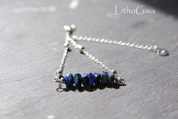 Lapis Lazuli ∞ Illumination, Inner Peace, Sagitarius Birthstone, 3 eye Chakra ∞ Bar Bracelet, Anklet 925 Silver, Jewelry, Gift for Her
