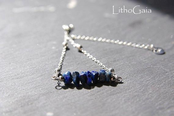 lapis lazuli Bar Bracelet or Anklet 925 Silver, birthstone Bracelet, lapis lazuli jewelry, Zodiac Gift for Her, lapis lazuli beads Anklet
