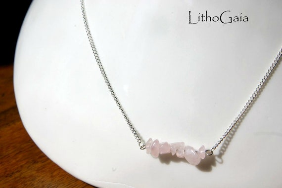 Rose Quartz  ∞ Peace, Unconditional Love, Affection, Taurus Birthstone, Heart Chakra ∞ Bar Necklace, 925 Silver, Jewelry, Gemstone, Gift
