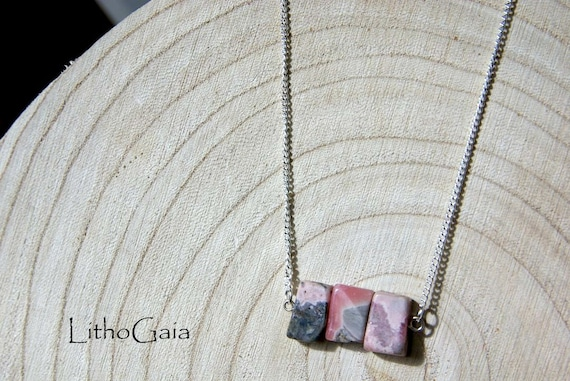 Rhodochrosite Bar Necklace on 925 Sterling Silver, Crystal Jewelry, Gemstone Bar, Gift for Her, Crystals Necklace Beads, Birthstone Jewelry