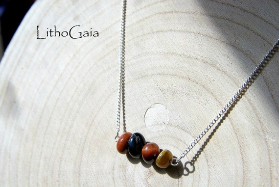 Indian Agate Beads Necklace on Sterling Silver 925. Nickel Free.