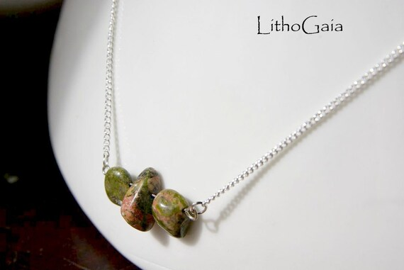 Unakite Necklace 925 Silver ∞ Vision, Pregnancy, Depression, Self-Love, Confidence, Heart Chakra, Gemini Zodiac ∞ Heal Gemstone Jewelry Gift