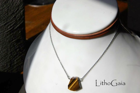 Tiger Eye ∞ Protection, Overcomes blockages, Taurus Birthstone, Chakra Sacral ∞ Choker, Necklace, Leather , Pendant, Gemstone, Jewelry