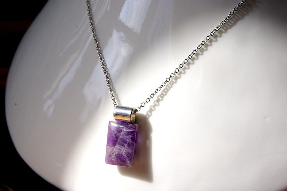 Amethyst Jewelry, Gemstone Necklace, Pendant Cabochon, Healing Crystals, Amethyst Gift for Her, birthstone
