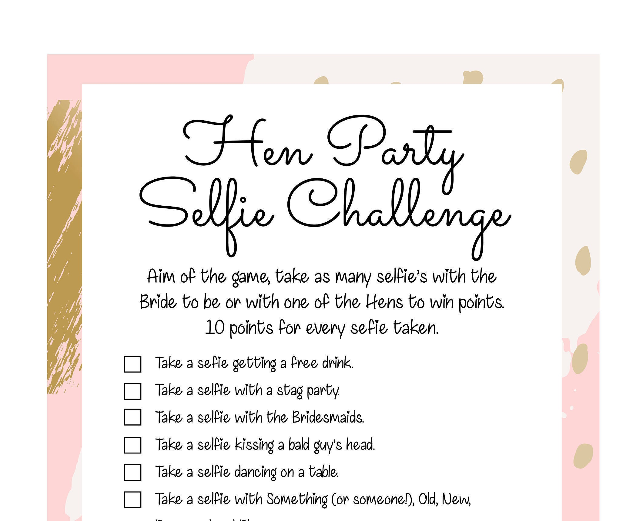Hen Party games. Hen Party Selfie/Photo challenge. Hen Party