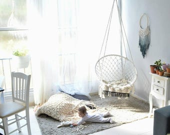 Macrame Hammock, Mcrame Swing Chair, Boho Hammock, Hammock Chair Indoor,  Bohemian Chair, Swing Chair, Macrame Swing Baby Chair, Indoor Decor