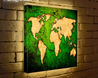 World Map Light poster,Personalized wall lamp art - Lighted Sign Night Light Light up Custom Night Light