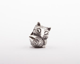 BABY FOXY- Sterling Silver Charm by Chronicles Amber, Unique Jewelry Gift for Her, Fits Pandora and Trollbead, Halloween, Christmas seasons