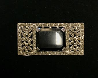 Sterling Marcasite and Onyx Brooch