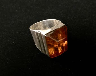 Baltic Amber Sterling Silver Mens Ring