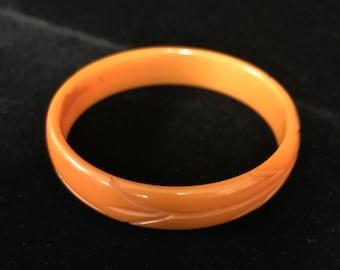 Butterscotch Bakelite Carved Bracelet