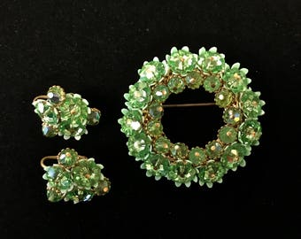 Green Brooch And Earring Set