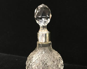 Crystal and Sterling Silver Perfume Bottle