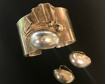 Mabe Pearl Sterling Silver Bracelet Set