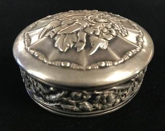 Silver Jewelry Box w/Hinged Lid