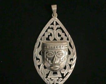 Sterling Silver Mayan Pendant