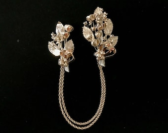 Hobe Gold Overlay Floral Scarf Brooch