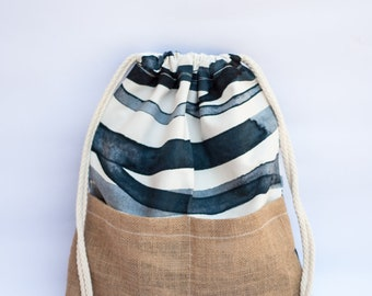 Handmade canvas-jute drawstring backpack