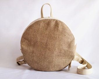 Handmade circle jute backpack