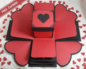 Red & Black 'I Heart You' Exploding Gift Box + FREE HEART CONFETTI - Explosion Gift Box - Valentine Gift - Anniversary Gift - Photo Album