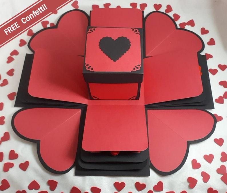 image 0 ... & Red u0026 Black u0027I Heart Youu0027 Exploding Gift Box FREE | Etsy